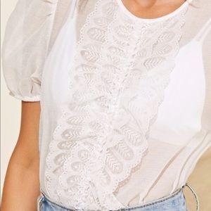 Tops - 🌟 white sheer ruffle lace top 🌟